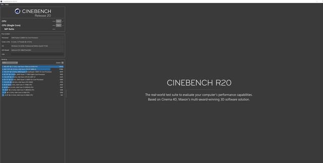 Maxon发布Cinebench R20 对新处理器优化