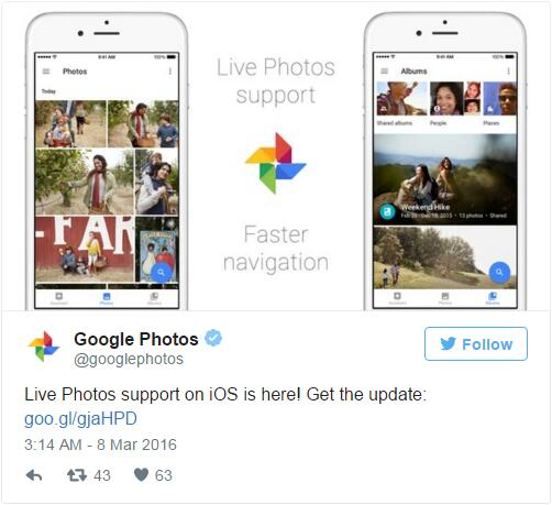 Google Photos支持苹果Live Photos功能
